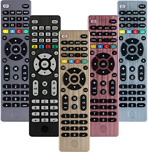 (GE Universal Remote Control for Samsung, Vizio, LG, Sony, Sharp, Roku, Apple TV, RCA, Panasonic, Smart TVs, Streaming Players, Blu-ray, DVD, Simple Setup, 4-Device, Gold, 33710)