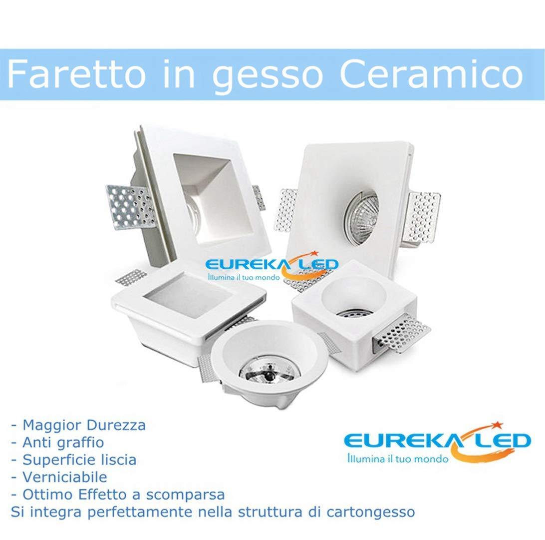 Eurekaled/® 10pz Portafaretto in Gesso CERAMICO da Incasso Quadrato con Vetro per Controsoffitti per GU10 e MR16 Cod.1264