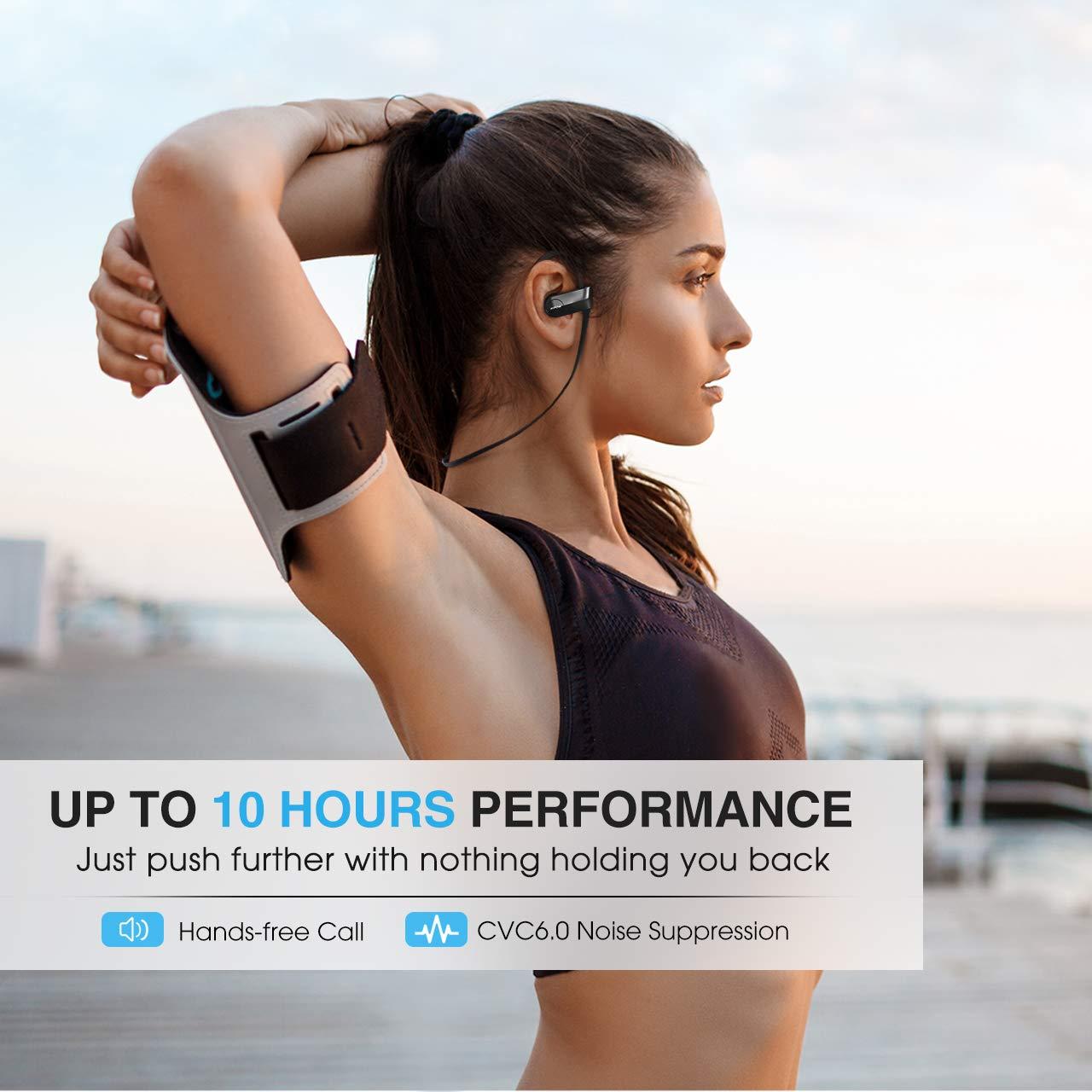 Mpow D7 Bluetooth Headphones Sport, 10H Playtime & IPX7 Waterproof Wireless Headphones Sport Earbuds W/Bass Stereo Sound, Running Headphones Bluetooth Earphones W/CVC 6.0 Noise Cancelling Mic, Black by Mpow (Image #3)