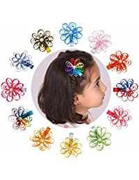 60f78dba2e7 Toddler Small Rhinestone Flower Bow Partially Lined Alligator Clip 12 Pack
