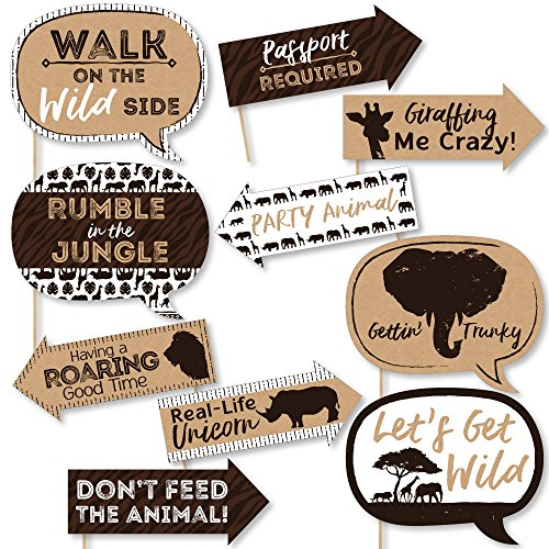 Wild Safari Jungle - Funny Wild Safari - African Jungle Adventure Birthday Party or Baby Shower Photo Booth Props Kit - 10 Piece