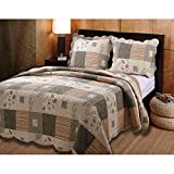 2 Piece Grey Oversized Southwest Theme Quilt Set Twin, Gray Patchwork Floral Plaid Pattern Bedding, Oversize Scalloped Edges South West Cabin Lodge Cottage Design Reversible, Synthetic Fiber