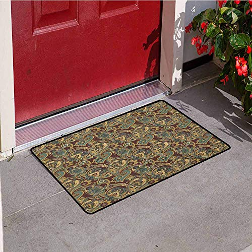 Paisley Inlet Outdoor Door mat Iranian Hippie Themed Spiritual Textured Floral Ornament Persian Artwork Catch dust Snow and mud W23.6 x L35.4 Inch Chocolate Sand Brown