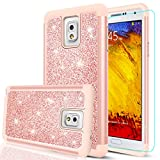 samsung 3 protective screen - Note 3 Case, Galaxy Note 3 Glitter Case with HD Screen Protector,LeYi Cute Girls Women Design [PC Silicone Leather] Dual Layer Heavy Duty Protective Phone Case for Samsung Galaxy Note 3 TP Rose Gold