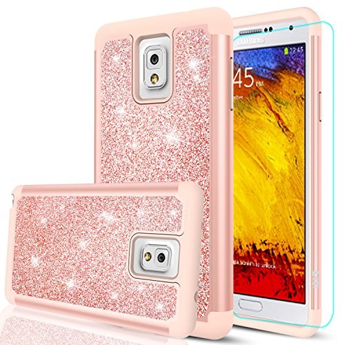 Note 3 Case, Galaxy Note 3 Glitter Case with HD Screen Protector,LeYi Cute Girls Women Design [PC Silicone Leather] Dual Layer Heavy Duty Protective Phone Case for Samsung Galaxy Note 3 TP Rose Gold (3 Rubber Note Cute Case)