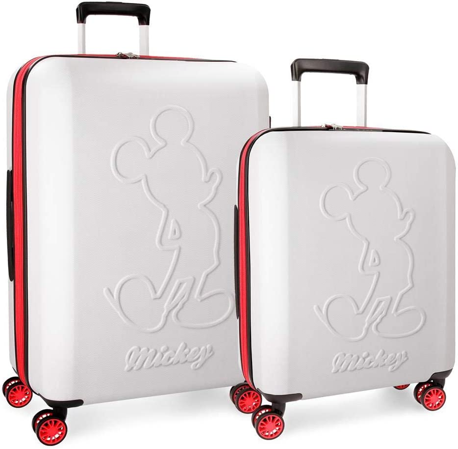 Juego de maletas Mickey Colored rígidas 55-68cm blanco
