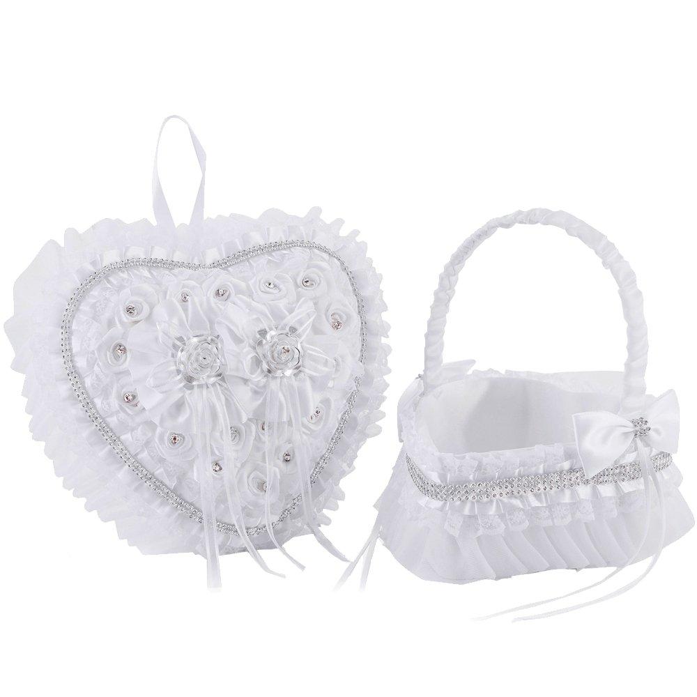 LONGBLE 2Pcs Set Satin Wedding Flower Girl Basket + Heart Shape Ring Bearer Pillow Rings Holder Box with Rose Rhinestones and Flowers Decor Set Ivory Wedding Ceremony Favors by LONGBLE