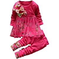GLIGLITTR Toddler Baby Girls Fall Winter Clothes Outfit 1-3 Years Old 2Pcs Floral Bowknot T-Shirt Tops Dress Pants Set