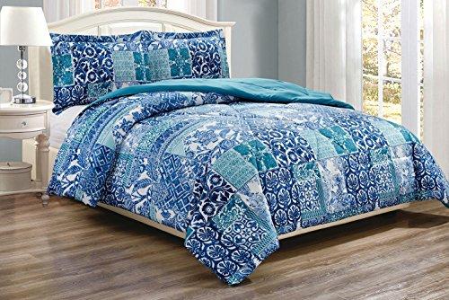 3-Piece Fine printed Comforter Set Reversible Blue Down Alternative Bedding FULL / QUEEN (Navy Blue, Turquoise, Lattice)