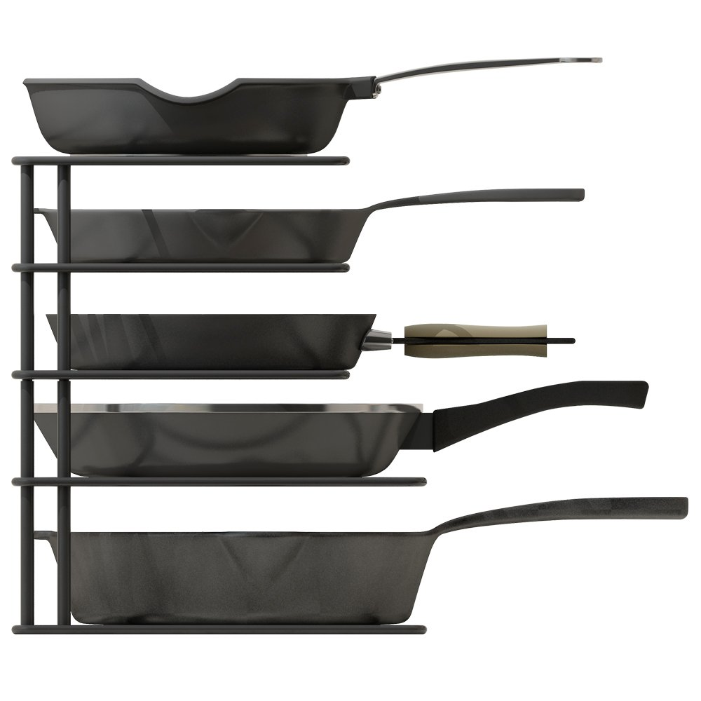Zesproka Kitchen Cabinet Pot And Pan Organizer, Pot Lid Rack, Black by Zesproka