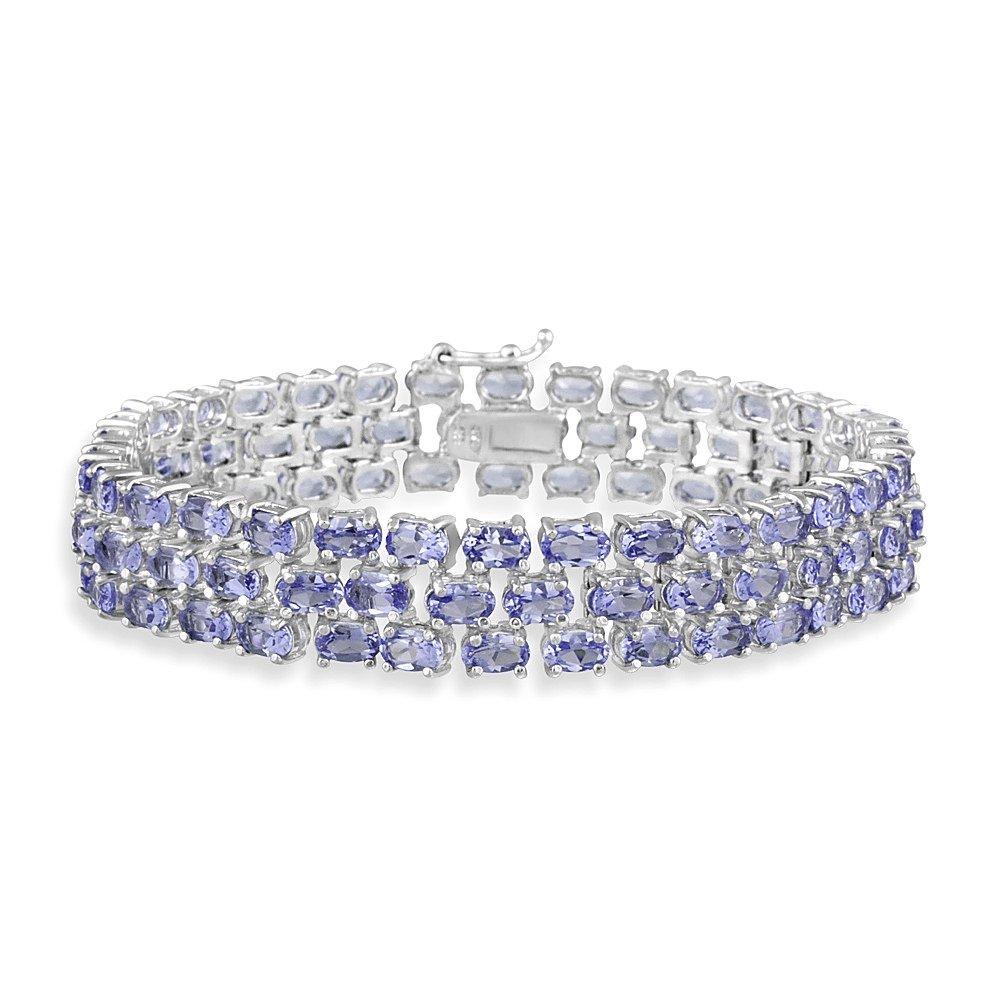 Sterling Silver Tanzanite Three Row Tennis Bracelet