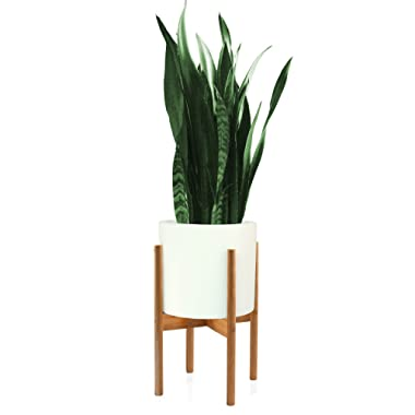 Fox & Fern Mid-Century Modern Plant Stand - Bamboo - EXCLUDING 10  White Ceramic Planter Pot