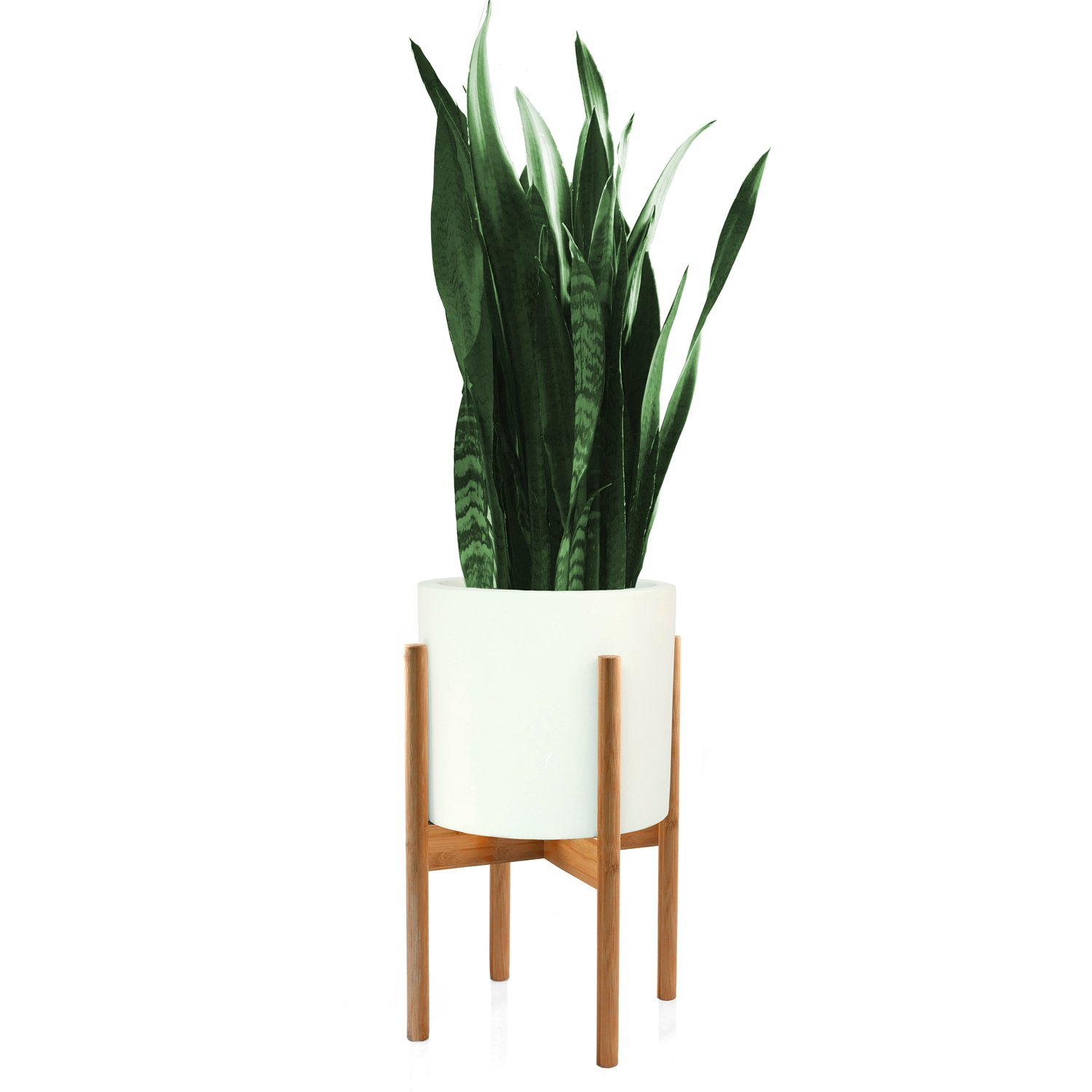 Fox & Fern Mid-Century Modern Plant Stand - Bamboo - EXCLUDING 10'' White Ceramic Planter Pot