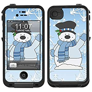 Skin Decal for LifeProof iPhone 4 Case - Snowman in Blue