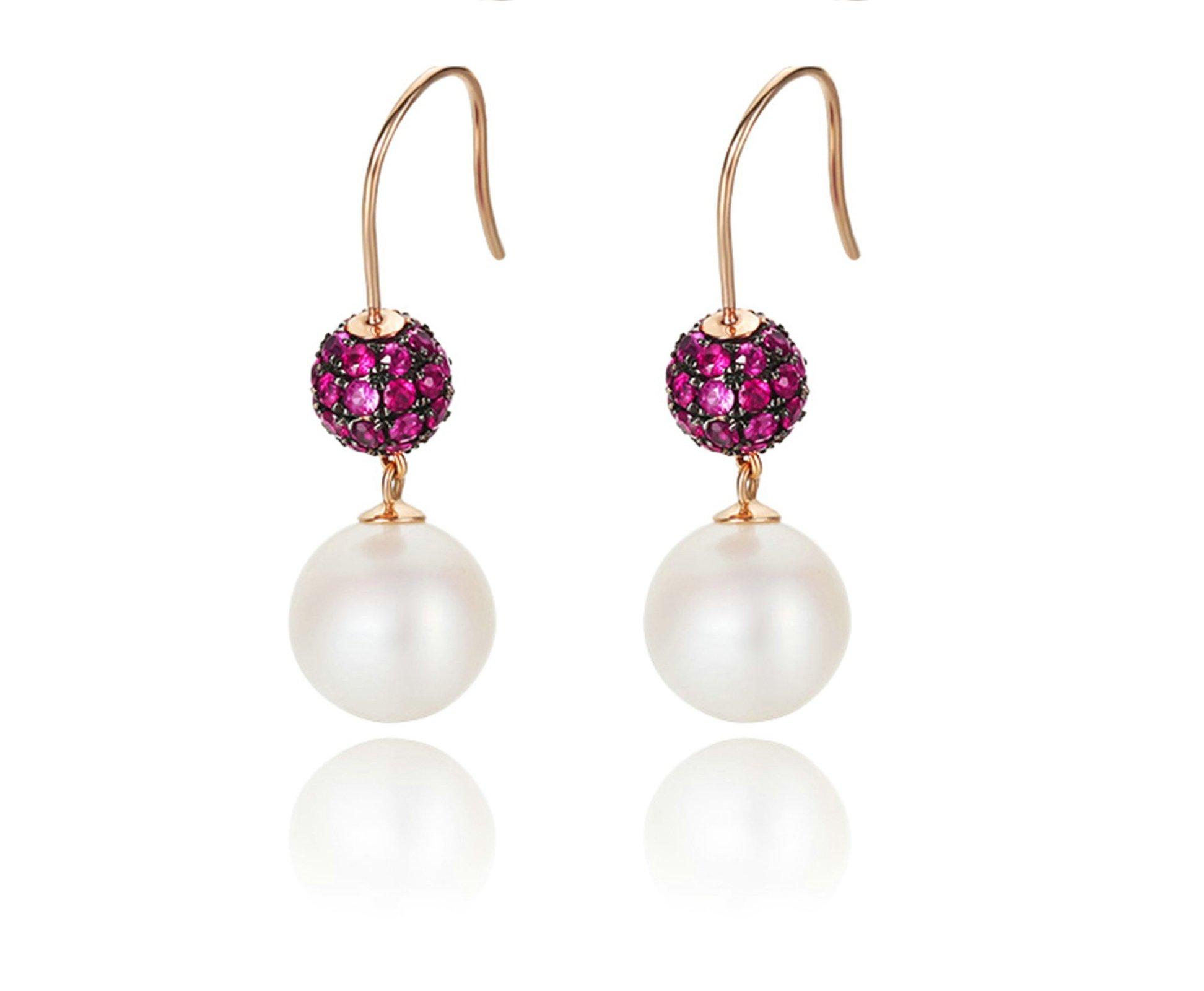 Daesar Rose Gold Earrings 18K Dangle Earrings for Women Freshwater Pearl Drop Earrings Ruby