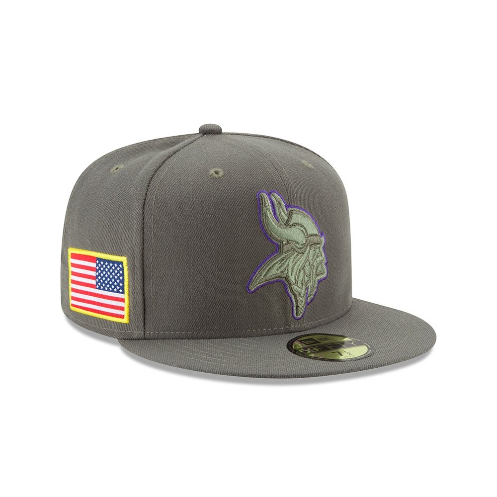 74d7eca21f898 Amazon.com   New Era 59Fifty Hat Minnesota Vikings NFL On-field Salute to Service  Fitted Cap   Sports   Outdoors