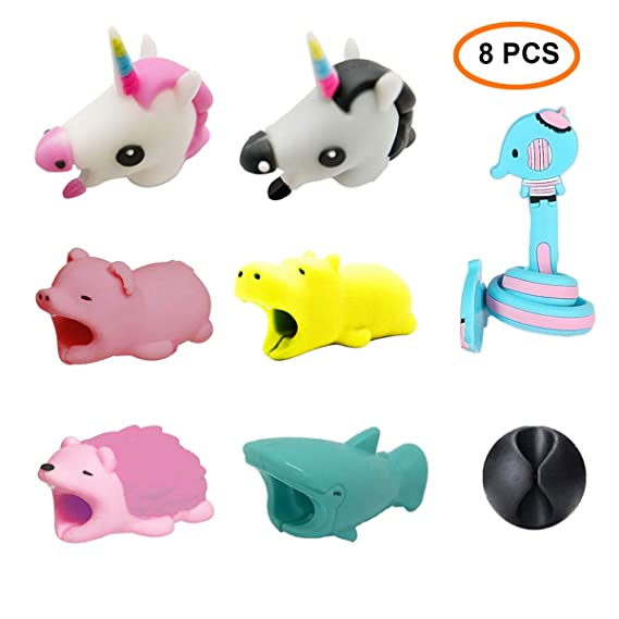 wholesale dealer 3e8c8 314c8 Animal Bite Cable Protector, Morneve Cord Protector for Apple iPhone Cable  Chompers Lightning Charger Cable Bites Cute Animal Biters Hippo Pig ...