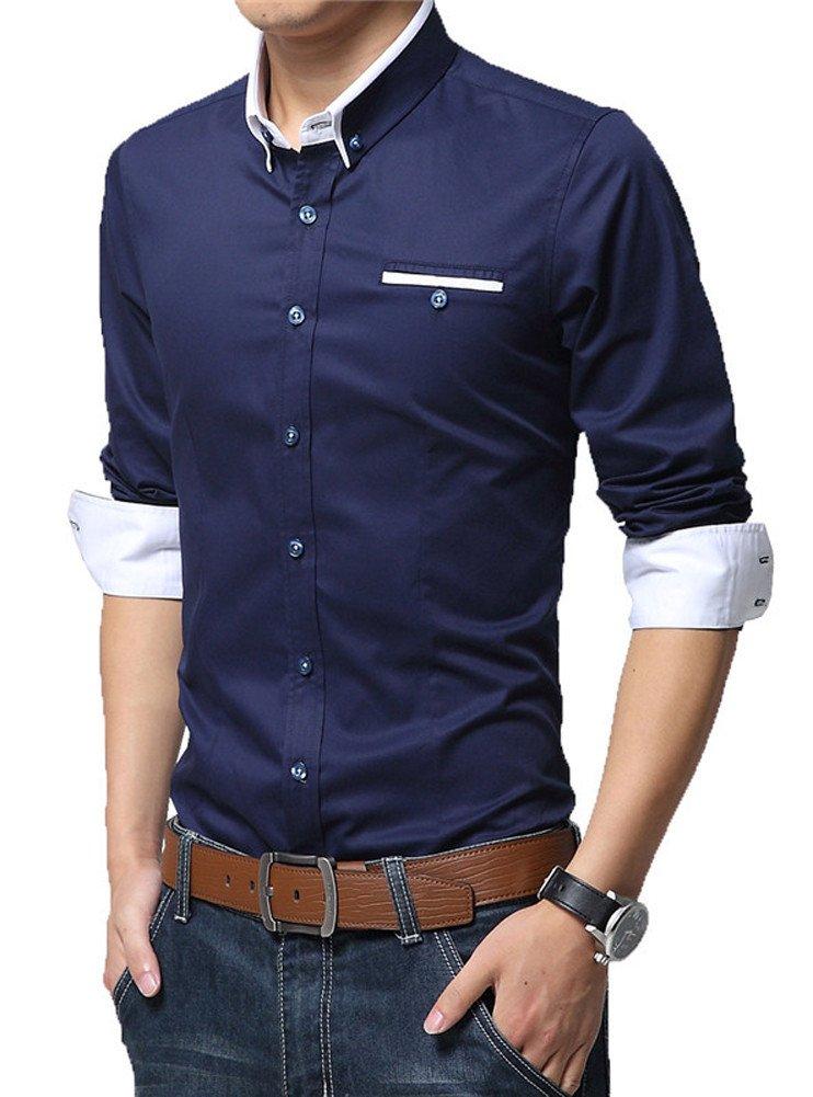 Meykiss Men's Basic Slim Fit Business Button Down Shirt Dress Shirt US M Deep Blue