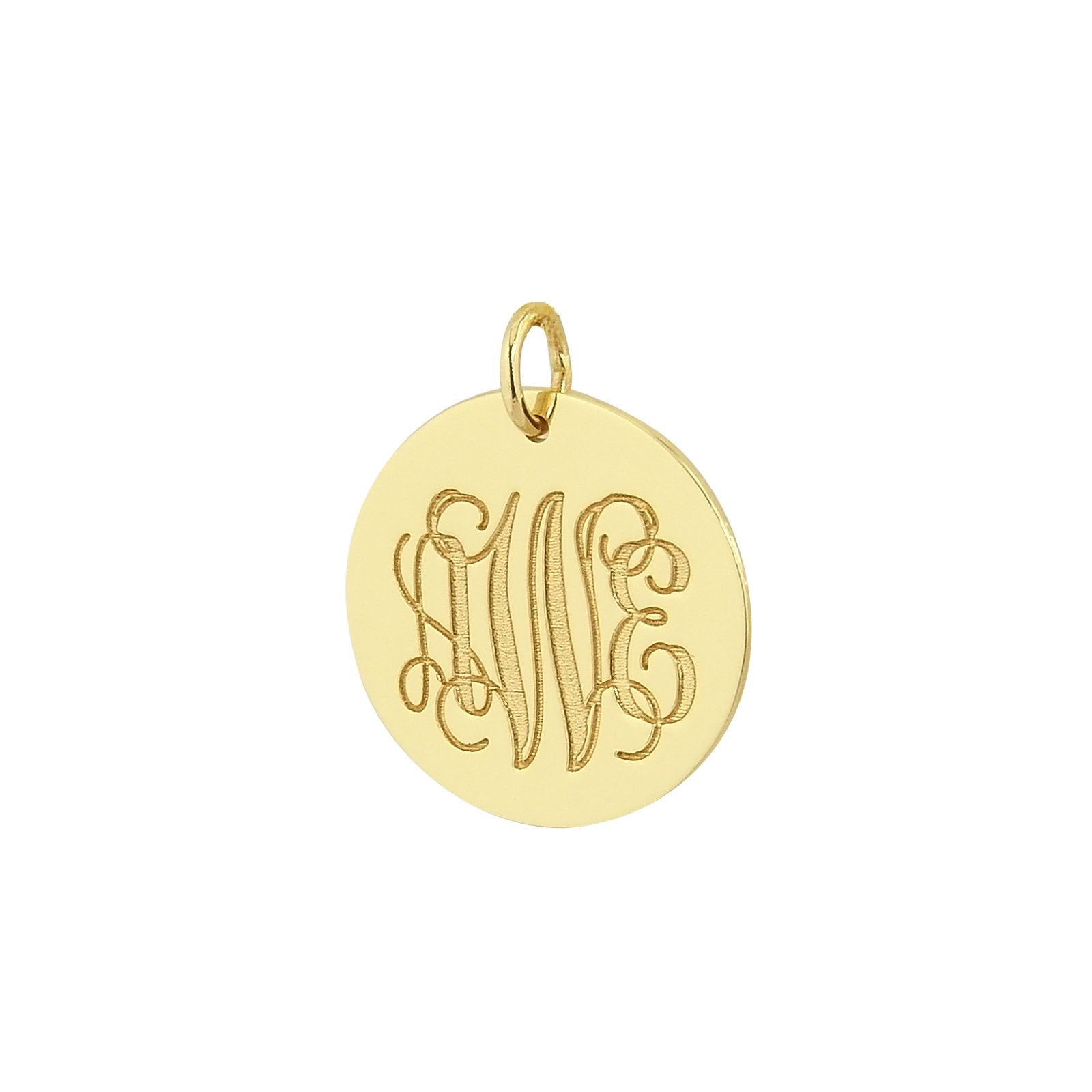 3 Initials Monogram 3/4 Inch Disc Charm Pendant Solid 14k Yellow Gold Laser Engraving GC08 (0)