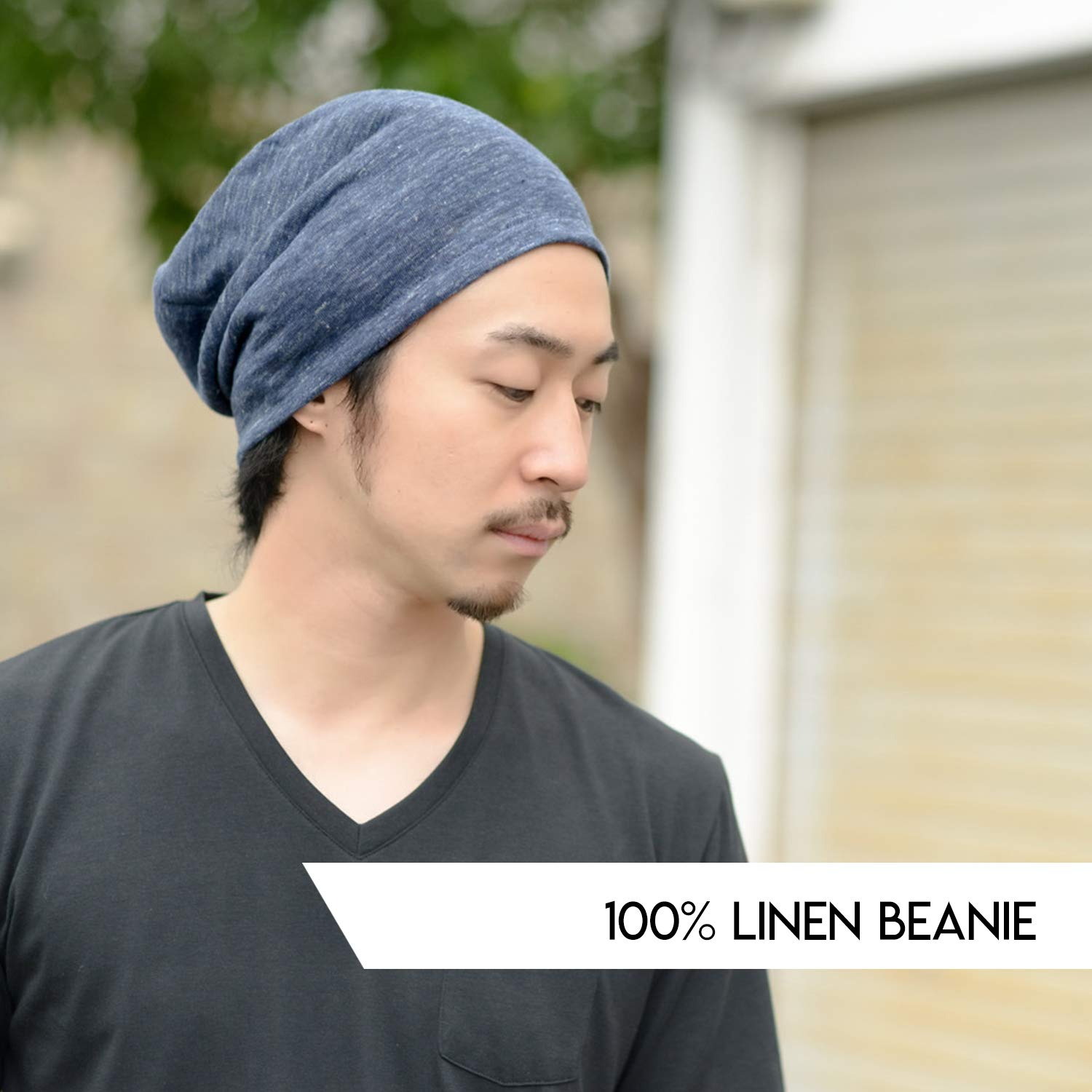 1544e656b2e Amazon.com  Linen Mens Summer Beanie - Slouchy Lightweight Knit Hat Cap  Made in Japan by Casualbox Biege  Clothing