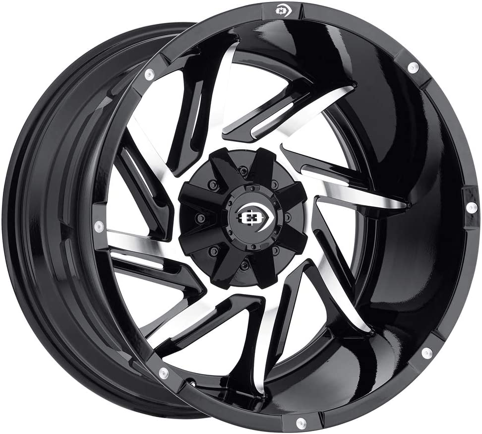 Vision 422 Prowler 20x12 5x4.5//5x5-51mm Black//Machined Wheel Rim 20 Inch