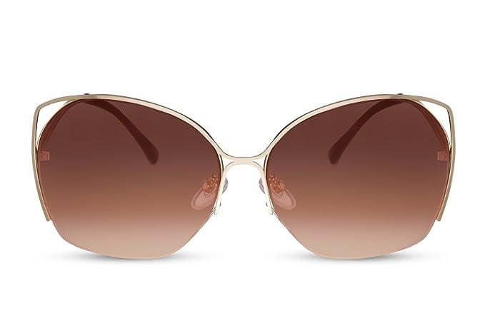 Cheapass Gafas de Sol Mujer Marrones Doradas Grandes ...