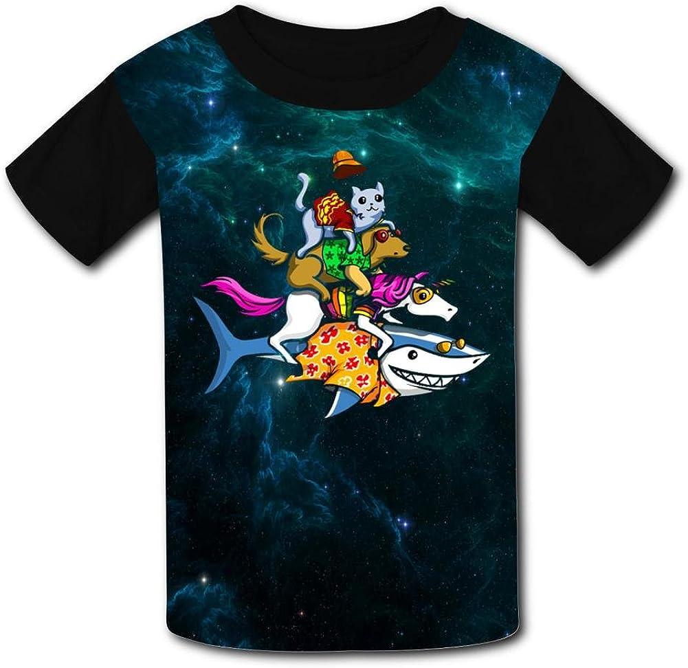 Funny Shark Unicorn Dog Cat Casual T-Shirt Short Sleeve for Kids