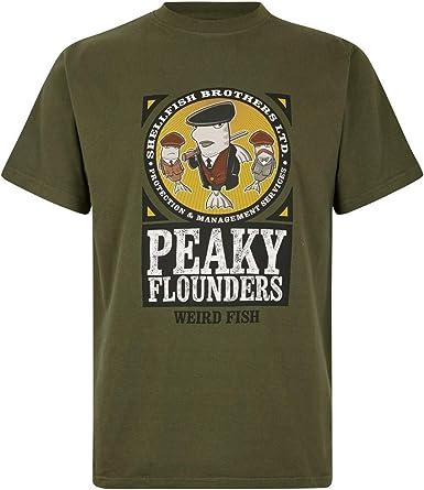 Weird Fish Hombres Pez Raro Peaky Flounders Artista Camiseta Verde Oliva Oscuro S: Amazon.es: Ropa y accesorios