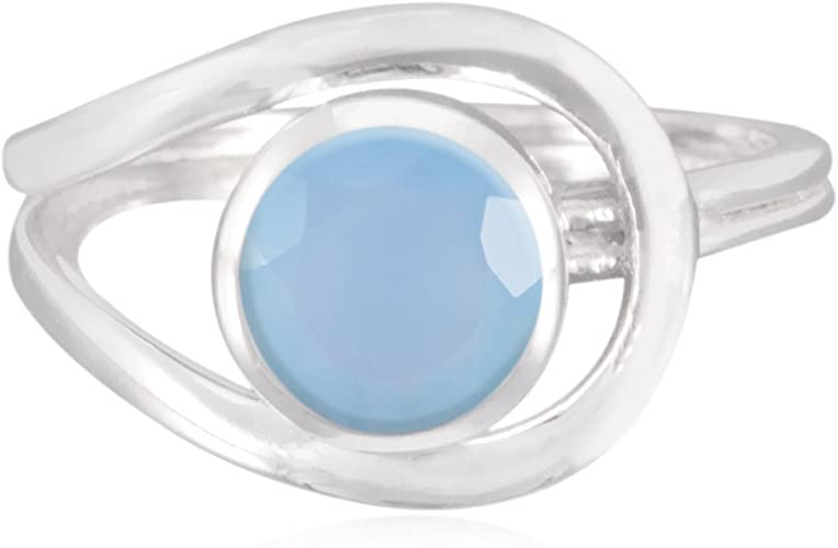 Lovely Gemstones Round Faceted Chalcedony Ring Sterling Silver Blue Chalcedony Lovely Gemstones Ring Home /& Living Great Selling Items Gift for Easter Sunday Name Ring