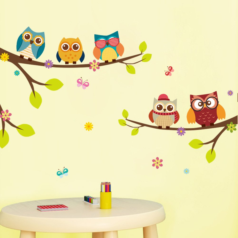 Amazon.com: Amaonm Removable Cartoon 9 Family Owls On The Tree ...