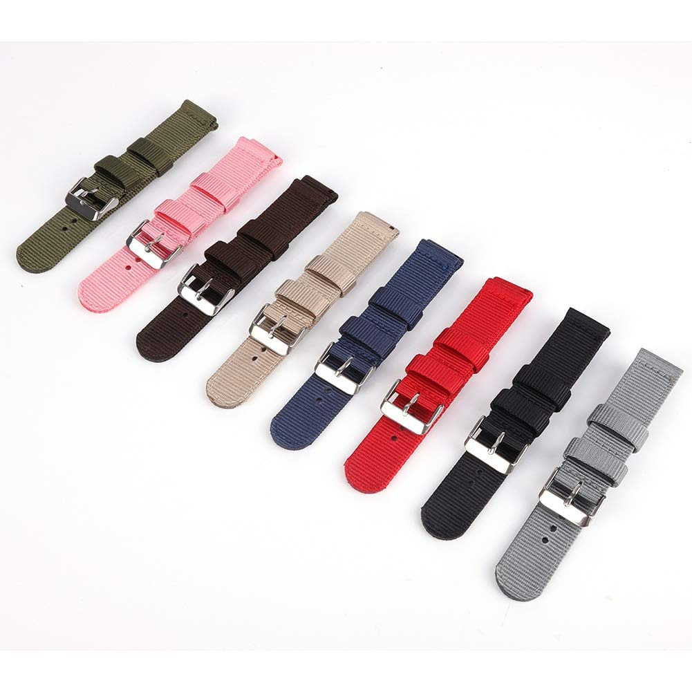 Bornbayb Solid Color Premium Nylon Nato Watch Straps Canvas Fabric Watch Band (Width: 18mm, 20mm, 22mm, 24mm) by Bornbayb (Image #4)