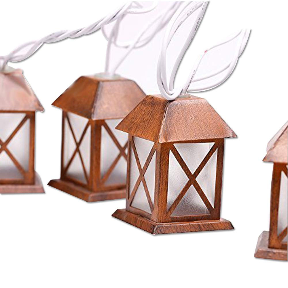 Lidore Set of 10 Warm White Glow Bronze Metal House Shaped Lantern Plug-in String Light