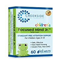 Creekside Naturals Focused Mind Jr., Focus and Memory Support for Children, Pediatrician Formulated, Stimulant Free Attention Support with Inositol, Zero Sugar, Vegan, Orange Cream Flavor, 60 EZ Melt Tablets