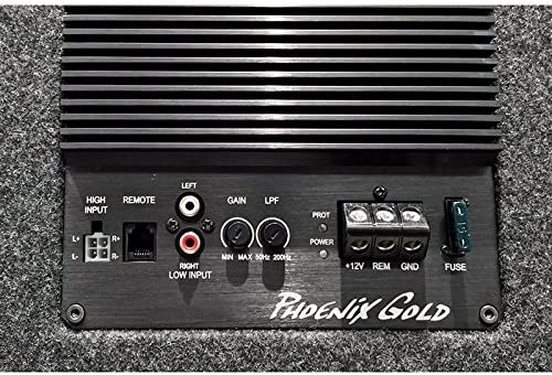 Phoenix Gold Z110ABV2/25/cm 80/W Subwoofer Bass Reflex Box Integrated Amplifier Class A//B 1/x 4//& # X2126/Ohm//High /& Low Level Input + Auto-On//Low Pass Filter//with remote control, cable kit
