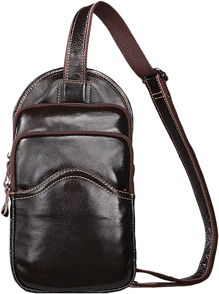 Zhhlinyuan Mens Leather Chest Pack Crossbody Shoulder Sling Bag ...