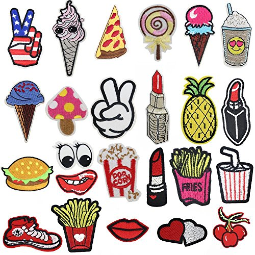 24pcs random assorted Iron-on or Sew-on Embroidered patch Motif Applique ()