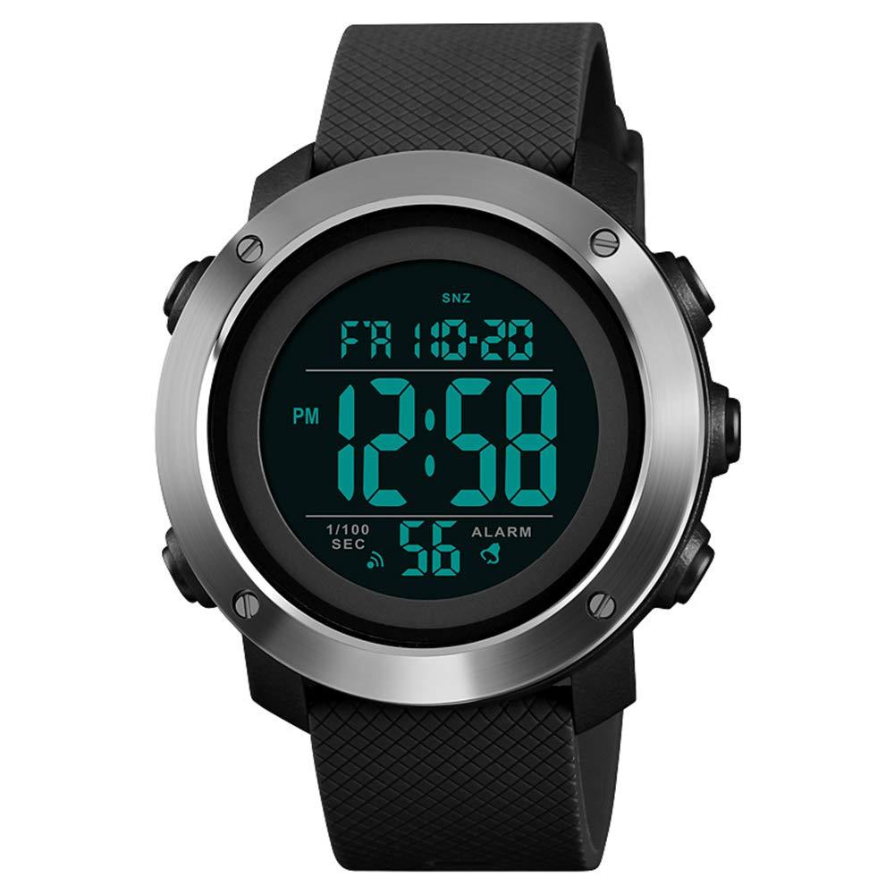 Reloj deportivo para hombres Reloj digital con pantalla grande LED Retroiluminación facial militar Impermeable Anillo de acero negro