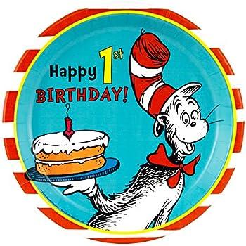 amazon com dr seuss 1st birthday party supplies dinner plates 8 rh amazon com Dr. Seuss Clip Art Dr. Seuss Quotes Clip Art