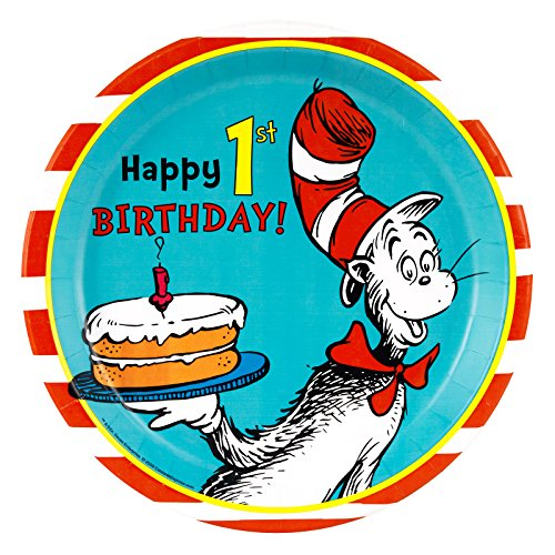 Dr Seuss 1st Birthday Party Supplies - Dinner Plates (8) ()