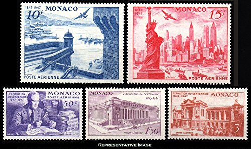 - Monaco Scott C16-C20 50c Rossevelt and Stamp Collection, 1.50F Main Post Office New York. 3F Oceangraphic Museum Monaco, 10F Harbor of Monte Carlo, and 15F Statue of Liberty 1947 International Philate
