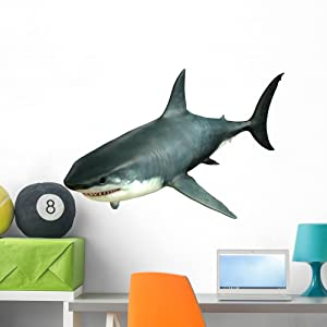 Wallmonkeys Great White Shark Upper Wall Decal Peel and Stick Graphic (36 in W x 27 in H) WM335531