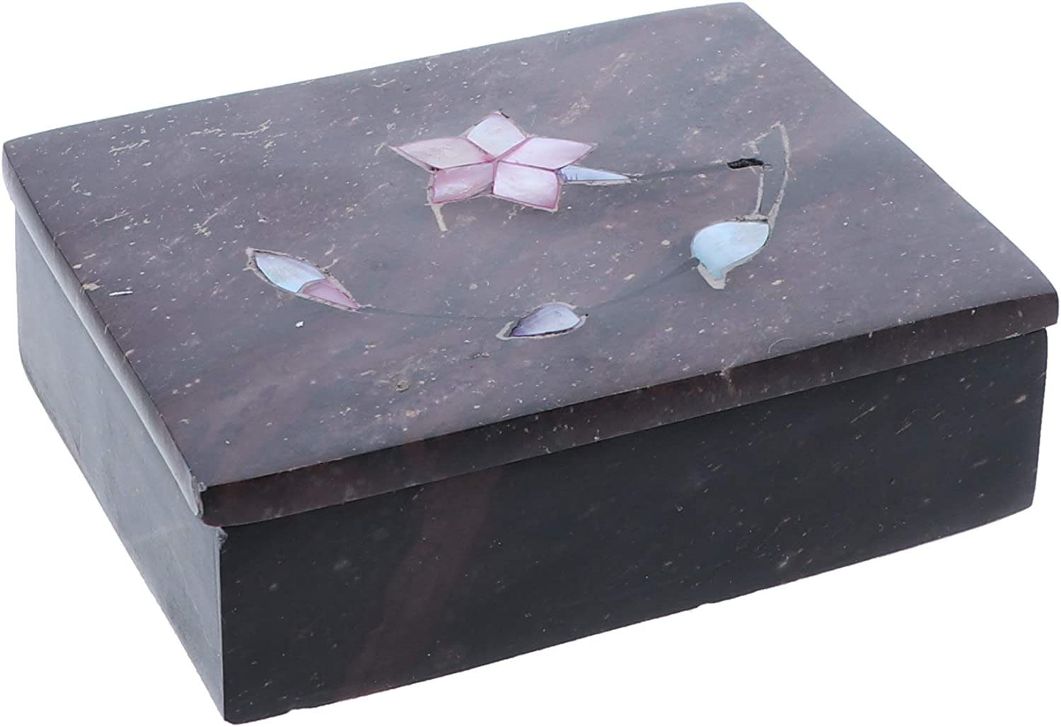Li'Shay Marble Soapstone Box with Flowers Large Rectangle