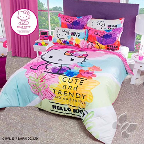 HELLO KITTY CUTE AND TRENDY TEENS GIRLS COMFORTER AND SHEET SET 5 PCS TWIN SIZE