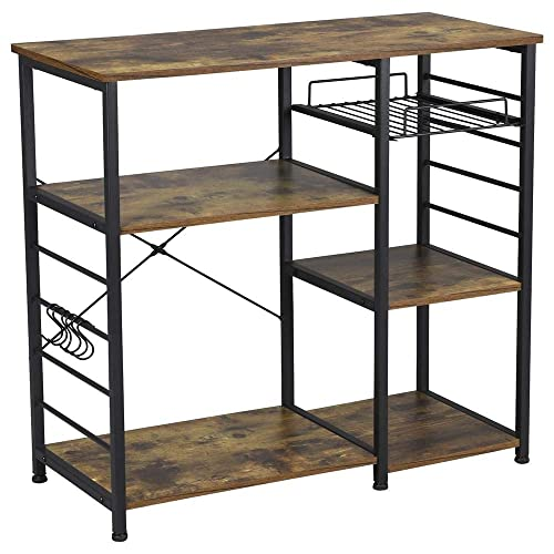 Yaheetech 35.5 inches Microwave Cart Kitchen Baker's Rack Utility Oven Stand Shelf Storage Cart 3-Tier Workstation Rustic Brown
