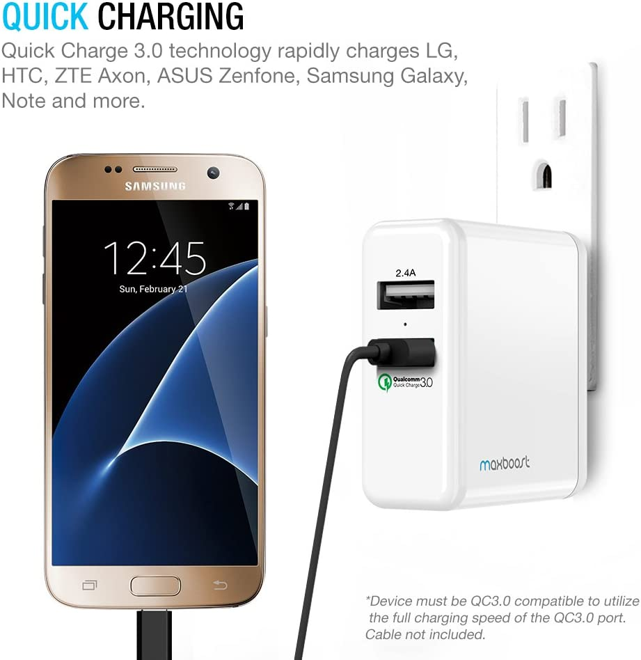 QC 3.0 USB for Galaxy S9 Plus//S8 Maxboost Quick Charge 3.0 30W 2-Port USB Wall Charger LG G6 G5 V20,HTC One A9,Nexus 5X 6P,Pixel; 2.4A USB for iPhone Xs XR X 8 7 Plus,iPad S7//S6//edge,Note 9 8//5