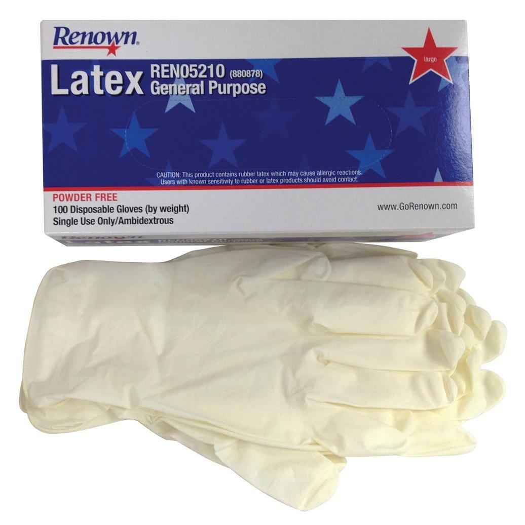 Renown REN05210 Disposable powder-Free General Purpose Latex Gloves, Natural, Large, 5 MIL, 100 Per Box, Pack of 1