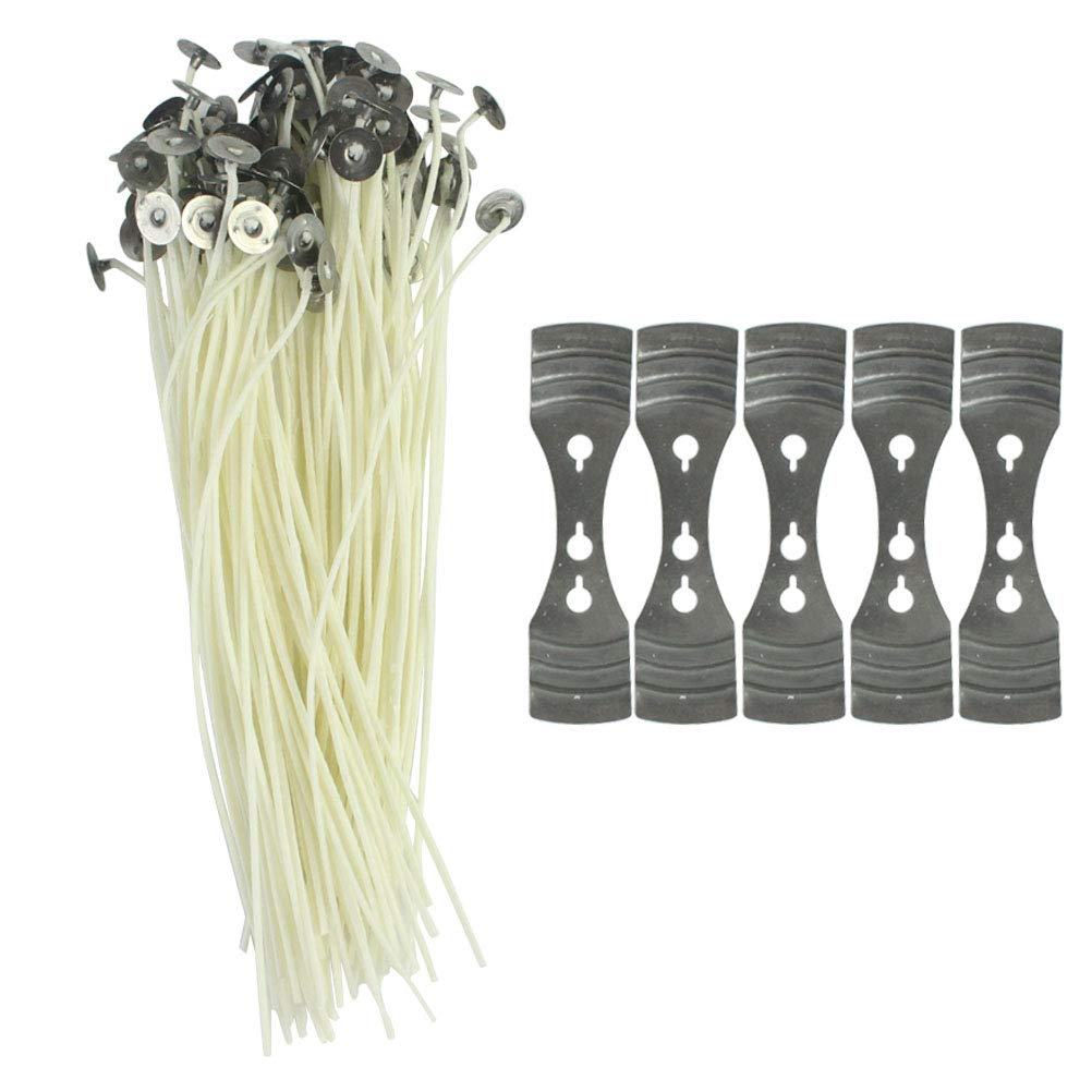 Wobe 100 Pcs Candle Wicks with 5 Pcs Centering Device 20cm//7.9 Pre-Waxed Cotton Core Wicks with Metal Sustainer for Pillar Candle Making and Candle DIY Low Smoke