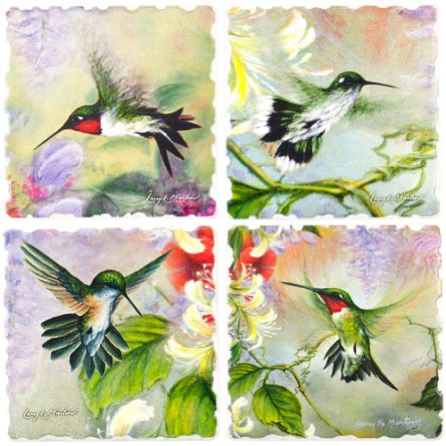 Nature's Gift of Feathers - Hummingbird Square Coaster assorted Set of 4 -code 727 (Coasters Treasures)