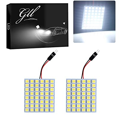 GLL Super White 5050 48-SMD LED Panel Dome Light Auto Car Interior Reading License Plate Lights Roof Ceiling Interior Wired Lamp T10 BA9S Festoon Adapter-2PCS: Automotive
