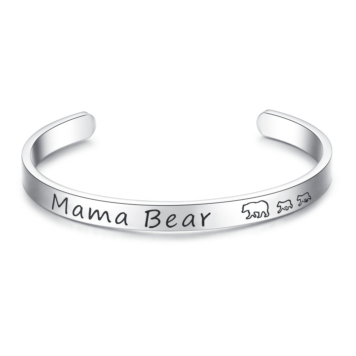 JSstudio Mama Bear Jewelry, Baby Cubs Hand Stamped Cuff Bracelet Jewelry, Mother Jewelry, Sweet for Mom Wife (Bangle 2 cubs)